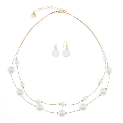 Monet Jewelry Womens 2-pc. White Goldtone Two Row Necklace Set