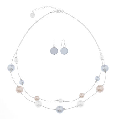 jcpenney.com | Monet Jewelry Womens 2-pc.Multi Silvertone Two Row Necklace Set