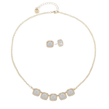 jcpenney.com | Monet Jewelry Womens 2-pc. Crystal Goldtone Delicate Necklace Set