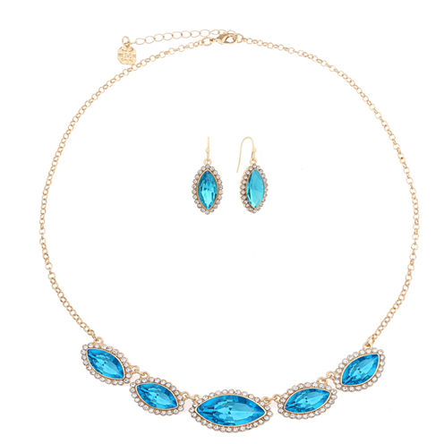 Monet Jewelry Womens 2-pc. Blue And Goldtone Frontal Necklace Set