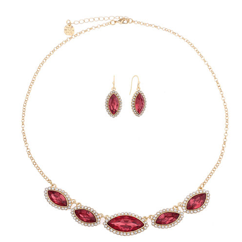 Monet Jewelry Womens 2-pc. Pink And Goldtone Frontal Necklace Set