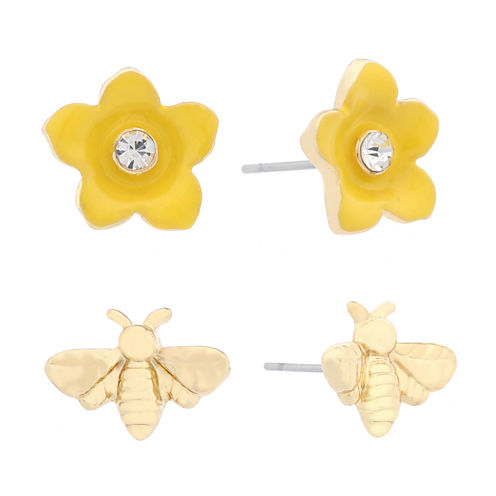 Liz Claiborne 2-Pc. Earring Duo Yellow And Goldtone