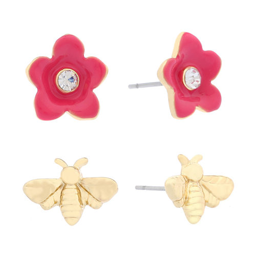 Liz Claiborne 2-Pc. Earring Duo Pink And Goldtone