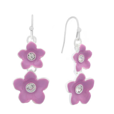 jcpenney.com | Liz Claiborne Flower Drop Earring Purple Silvertone