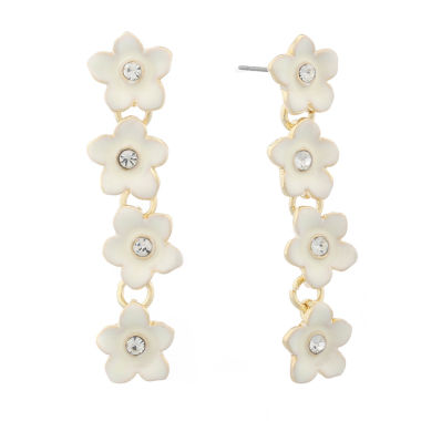 jcpenney.com | Liz Claiborne Flower Linear Earring White And Goldtone