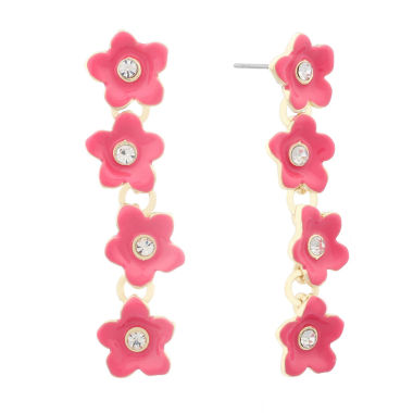 jcpenney.com | Liz Claiborne Flower Linear Earring Pink And Goldtone