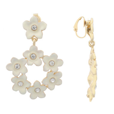 jcpenney.com | Liz Claiborne Clip Drop Earring White And Goldtone