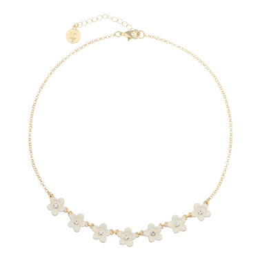 jcpenney.com | Liz Claiborne Flower Frontal Collar White Goldtone Necklace
