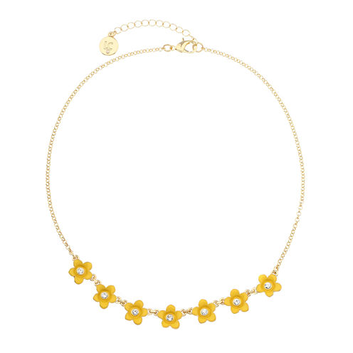 Liz Claiborne Womens Flower Frontal Collar Yellow Goldtone