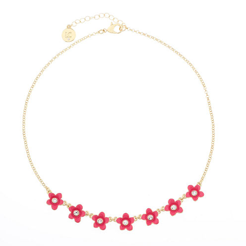 Liz Claiborne Womens Flower Frontal Collar Pink Goldtone