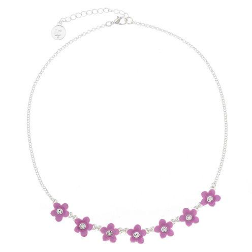 Liz Claiborne Flower Frontal Collar Purple Silvertone Necklace