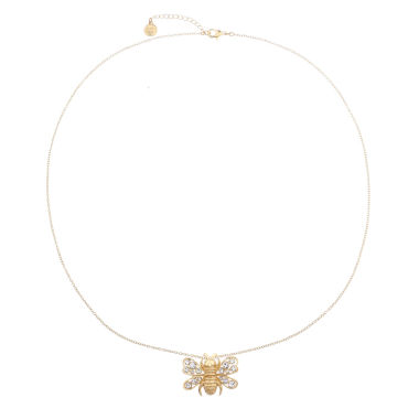 jcpenney.com | Liz Claiborne Long Bee Pendant Clear And Goldtone