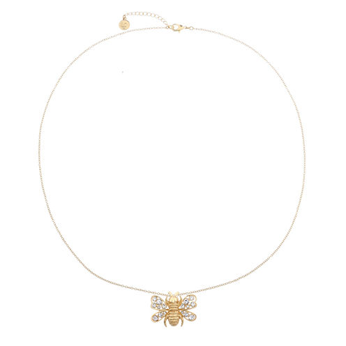 Liz Claiborne Long Bee Pendant Clear And Goldtone