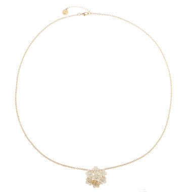 jcpenney.com | Liz Claiborne Long Flower Pendant White And Goldtone