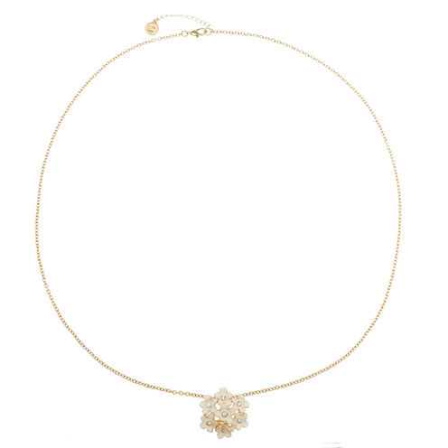 Liz Claiborne Long Flower Pendant White And Goldtone