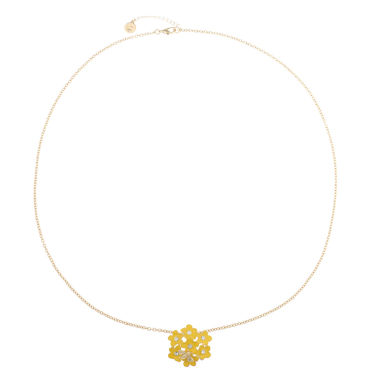 jcpenney.com | Liz Claiborne Long Flower Pendant Yellow And Goldtone