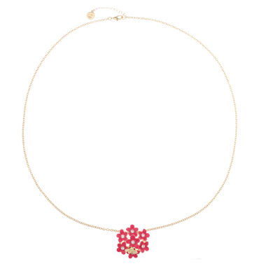 jcpenney.com | Liz Claiborne Womens Long Flower Pendant Pink And Goldtone