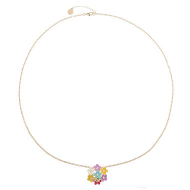 jcpenney.com | Liz Claiborne Long Flower Pendant Multi And Goldtone