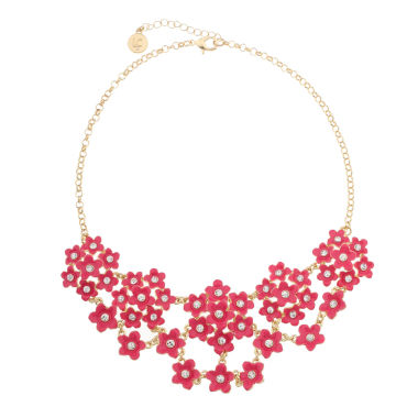 jcpenney.com | Liz Claiborne Flower Drama Necklace Pink And Goldtone