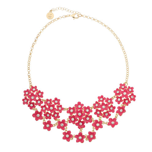 Liz Claiborne Flower Drama Necklace Pink And Goldtone