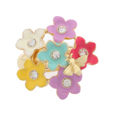 jcpenney.com | Liz Claiborne Womens Flower Stretch Ring Multi And Goldtone