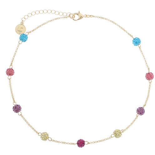 Liz Claiborne Ball Collar Necklace Multi Goldtone