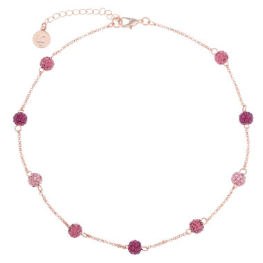 jcpenney.com | Liz Claiborne Ball Collar Necklace Pink Rose Goldtone