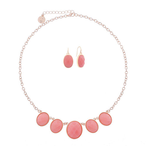 Liz Claiborne Pink Rose Goldtone Oval Necklace Set
