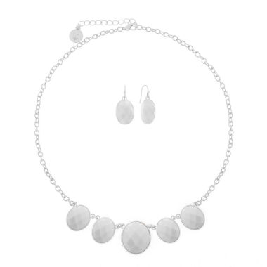 jcpenney.com | Liz Claiborne Oval Front Line Jewelry Set White Silver