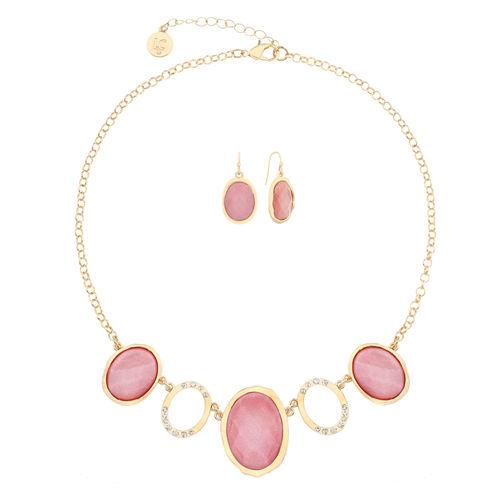 Liz Claiborne Pink And Goldtone Oval Necklace Set