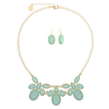 jcpenney.com | Liz Claiborne Green And Goldtone Flower Necklace Set