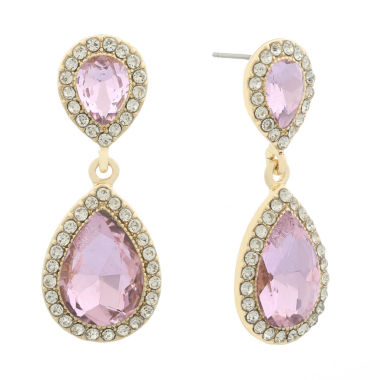 jcpenney.com | Monet Pink Goldtone Post Double Drop Earring