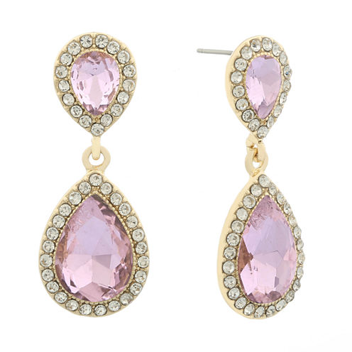 Monet Pink Goldtone Post Double Drop Earring