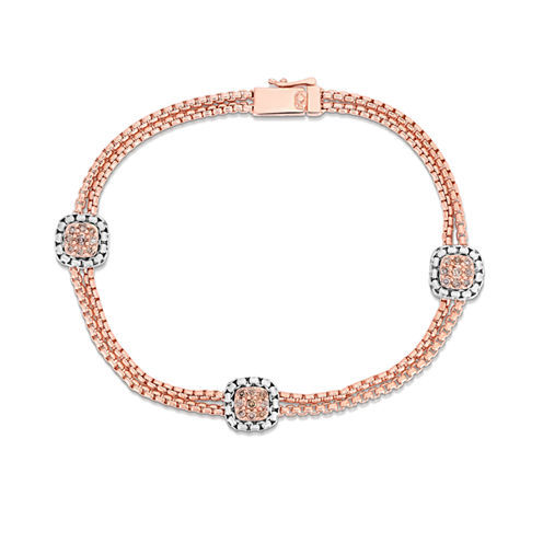 LIMITED QUANTITIES 1/3 CT. T.W. Diamond 14K Rose Gold Over Silver Bracelet