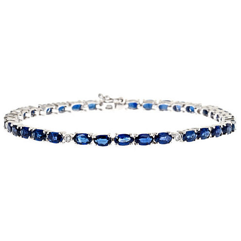 LIMITED QUANTITIES! 1/10 CT. T.W. Blue Sapphire 14K Gold Tennis Bracelet