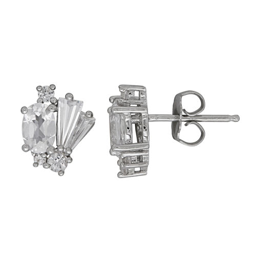 Oval White Sapphire Sterling Silver Stud Earrings