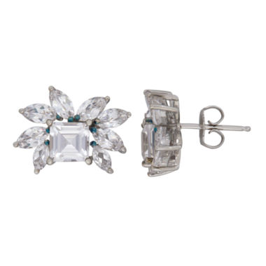 jcpenney.com | Princess White Sapphire Sterling Silver Stud Earrings