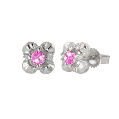 jcpenney.com | Round Pink Sapphire Sterling Silver Stud Earrings