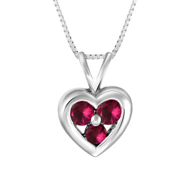 jcpenney.com | Womens Red Lab-Created  Ruby Sterling Silver Pendant Necklace