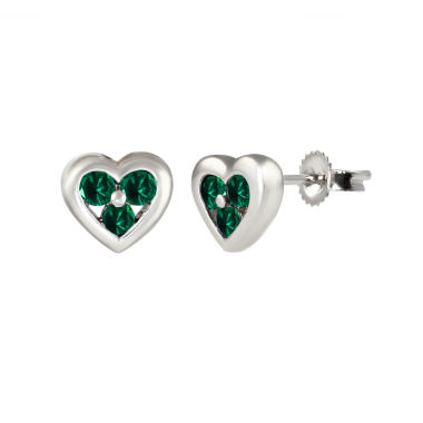 jcpenney.com | Round Green Emerald Sterling Silver Stud Earrings