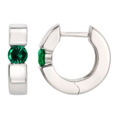 jcpenney.com | Green Emerald Sterling Silver Hoop Earrings