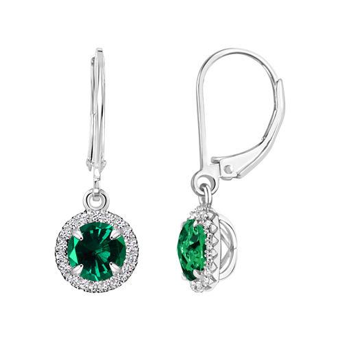 Lab Created Emerald Sterling Silver Drop Earrings