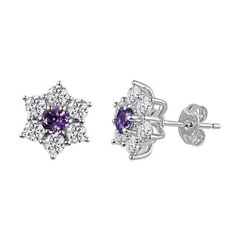Round Purple Amethyst Sterling Silver Stud Earrings