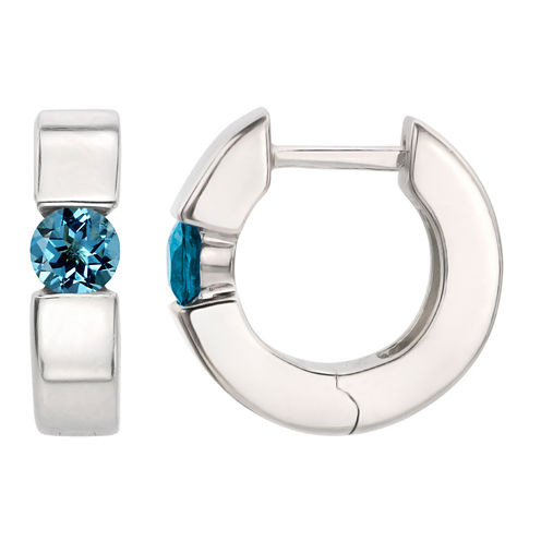Blue Topaz Sterling Silver Hoop Earrings
