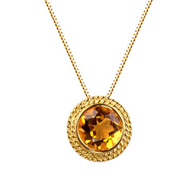 jcpenney.com | Womens Yellow Citrine Gold Over Silver Pendant Necklace