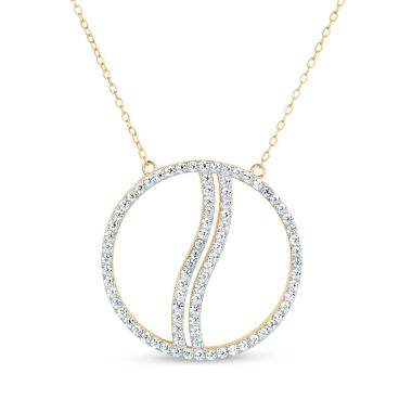 jcpenney.com | Womens 18 Inch White Cubic Zirconia 18K Gold Over Silver Link Necklace