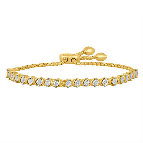 Rhythm & Muse Womens 1/10 CT. T.W. White Diamond Sterling Silver Bolo Bracelet