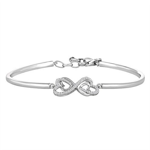 Womens 1/10 CT. T.W. White Diamond Sterling Silver Bangle Bracelet