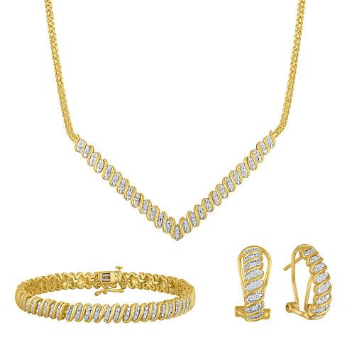 Diamond Blossom 1 C.T. T.W. Diamond 14K Gold Over Brass 3-pc Jewelry Set