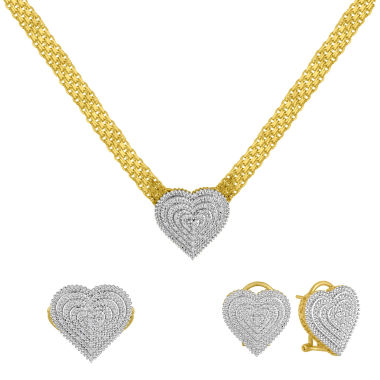 jcpenney.com | Womens 3-pc. 1/5 CT. T.W. White Diamond Gold Over Brass Jewelry Set